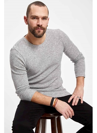 DeFacto Uzun Kollu Kaşkorse Slim Fit T-shirt Antrasit